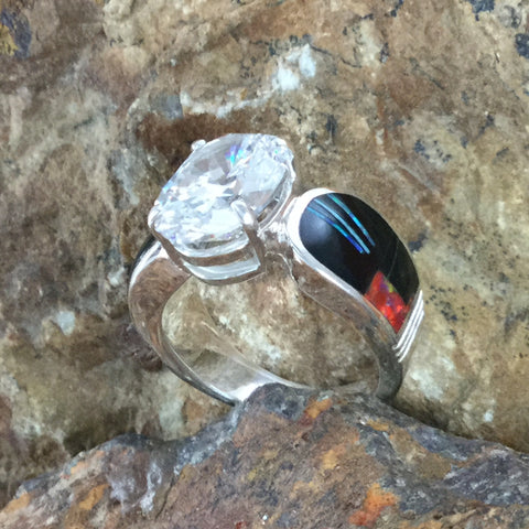 David Rosales Red Moon Inlaid Sterling Silver Ring w/ Cubic Zirconia
