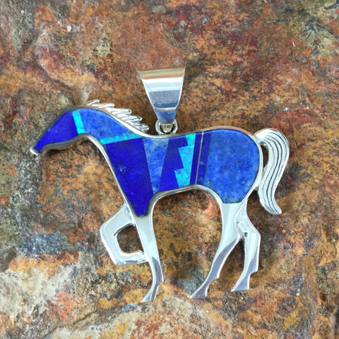 David Rosales Blue Sky Fancy Inlaid Sterling Silver Pendant Horse