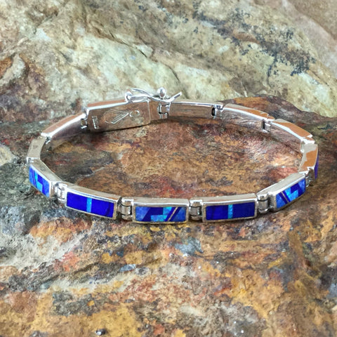 David Rosales Blue Sky Fancy Inlaid Sterling Silver Link Bracelet