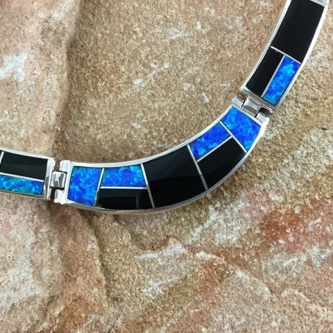 David Rosales Black Beauty Inlay Sterling Silver Necklace