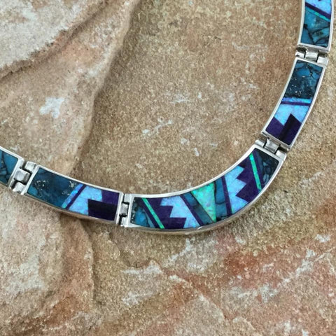David Rosales Shalako Fancy Inlay Sterling Silver Necklace