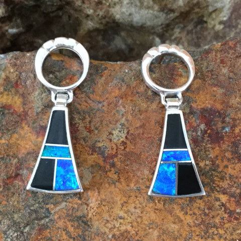 David Rosales Black Beauty Inlaid Sterling Silver Earrings