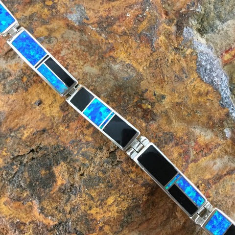 David Rosales Black Beauty Inlaid Sterling Silver Link Bracelet