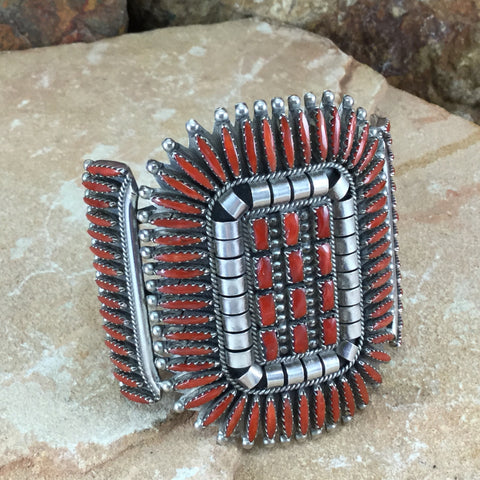 Vintage Navajo Needlepoint Coral Cuff Bracelet Vincent G Begay - Estate Jewelry