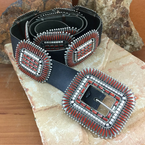 Vintage Navajo Needlepoint Coral Concho Belt Vincent G Begay - Estate Jewelry