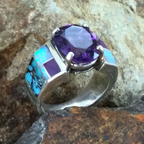 David Rosales Shalako Inlaid Sterling Silver Ring w/ Amythyst