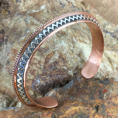 Sterling Silver & Copper Triangular Cuff Bracelet - By Sylvana Apache