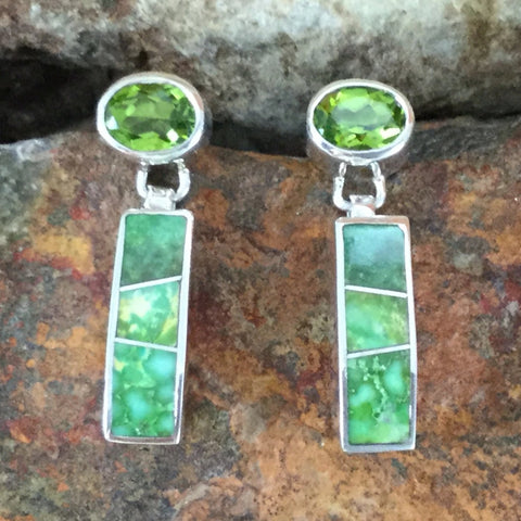 David Rosales Sonoran Gold Inlaid Sterling Silver Earrings w Peridot