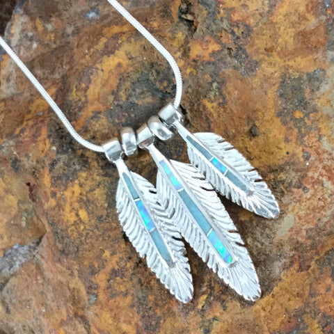 David Rosales Amazing Light Inlaid Sterling Silver Necklace Feathers