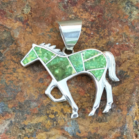 David Rosales Sonoran Gold Turquoise Inlaid Sterling Silver Pendant Horse