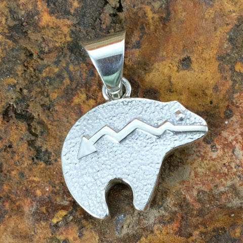 David Rosales Amazing Light Inlaid Sterling Silver Pendant Bear