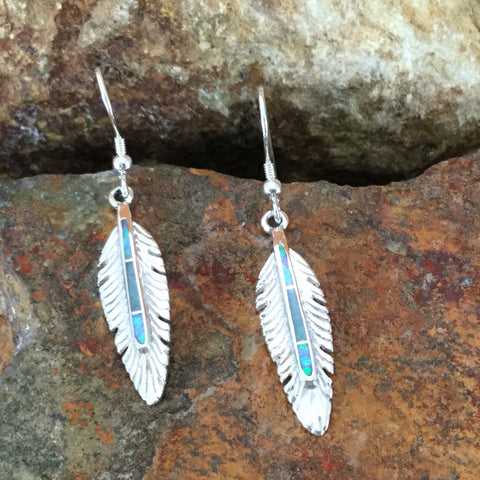 David Rosales Amazing Light Inlaid Sterling Silver Earrings Feathers