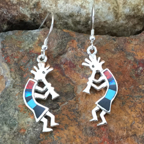 David Rosales Red Moon Inlaid Sterling Silver Earrings Kokopelli