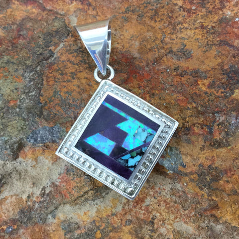 David Rosales Shalako Fancy Inlaid Sterling Silver Pendant