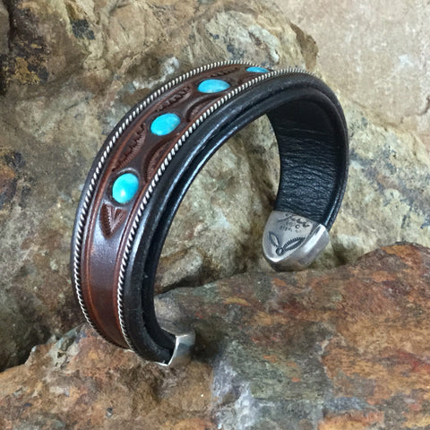 "Jerry Tucker Brown & Black Leather Cuff w/ Kingman Turquoise 3/4"" Width"