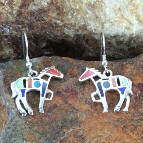 David Rosales Indian Summer Inlaid Sterling Silver Earrings Horse