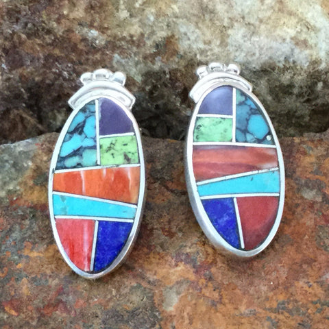 David Rosales Indian Summer Inlaid Sterling Silver Earrings Clip