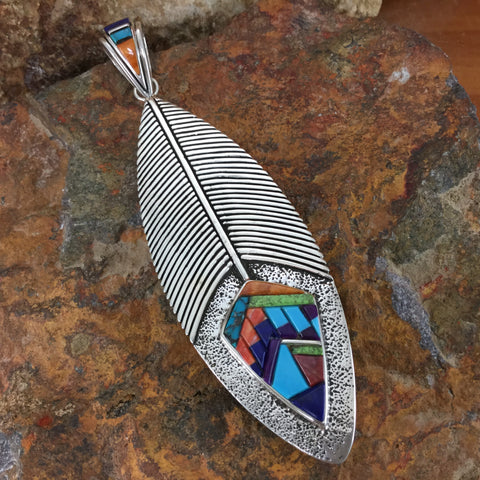 David Rosales Indian Summer Inlaid Sterling Silver Pendant Princess Feather