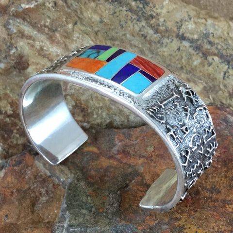 David Rosales Indian Summer Inlaid Sterling Silver Bracelet