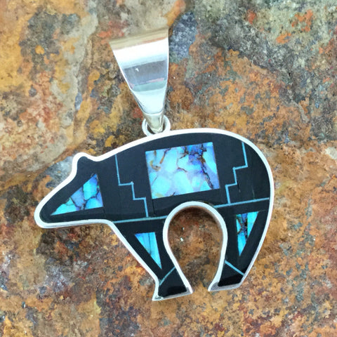 David Rosales Shadow Peak Inlaid Sterling Silver Pendant Bear