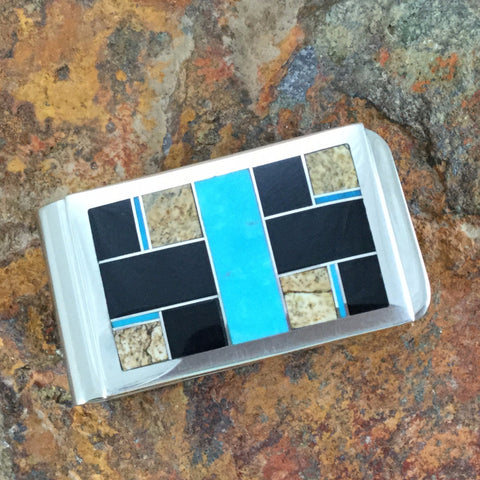 David Rosales Turquoise Creek Inlaid Sterling Silver Money Clip