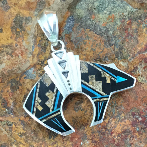 David Rosales Turquoise Creek Inlaid Sterling Silver Pendant Bear