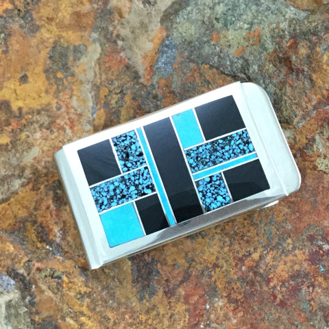 David Rosales Shadow Peak Inlaid Sterling Silver Money Clip