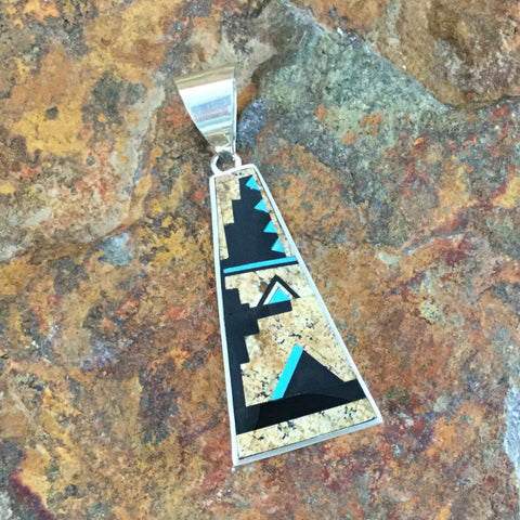 David Rosales Turquoise Creek Inlaid Sterling Silver Pendant