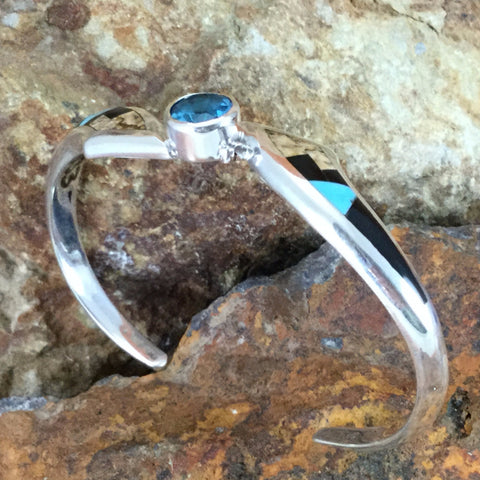 David Rosales Turquoise Creek Inlaid Sterling Silver Bracelet w/ Blue Topaz