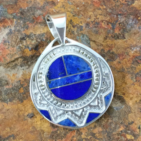 David Rosales Blue Water Inlaid Sterling Silver Pendant