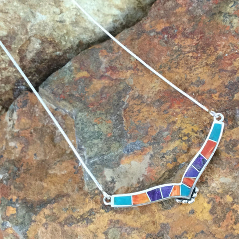 David Rosales Morenci Sunset Inlaid Sterling Silver Necklace
