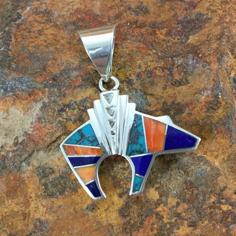 David Rosales Morenci Sunset Inlaid Sterling Silver Pendant Bear
