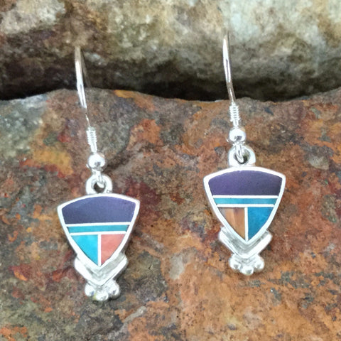 David Rosales Morenci Sunset Inlaid Sterling Silver Earrings