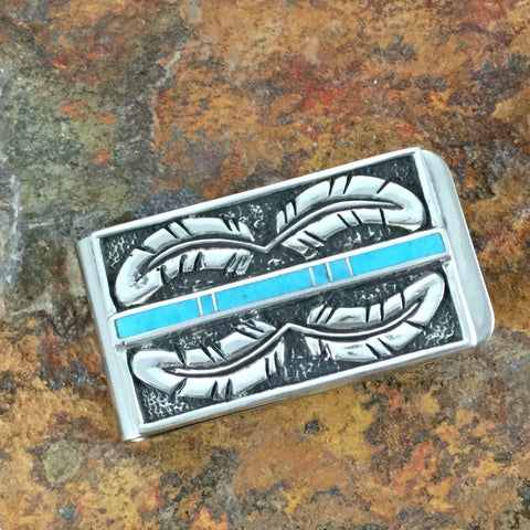 David Rosales Arizona Blue Inlaid Sterling Silver Money Clip