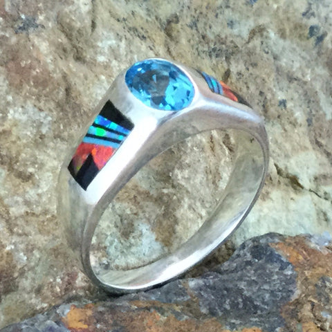 David Rosales Red Moon Inlaid Sterling Silver Ring w/ Blue Topaz