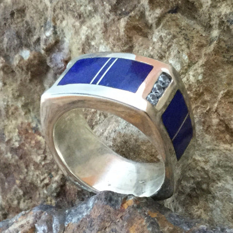 David Rosales Blue Water Inlaid Sterling Silver Ring w/ CZ