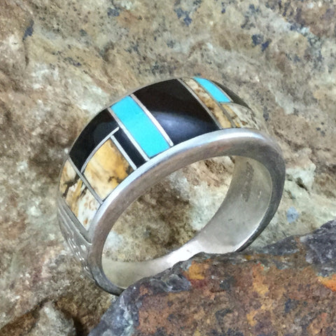 David Rosales Turquoise Creek Inlaid Sterling Silver Ring