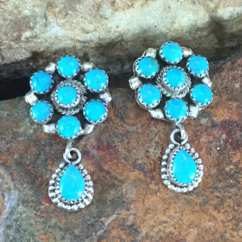 Sleeping Beauty Turquoise Sterling Silver Earrings Cluster by V Blackgoat