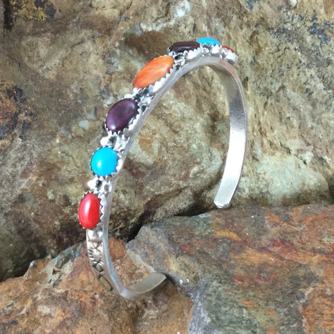 Spiny Oyster, Turquoise & Coral Sterling Silver Bracelet by V Blackgoat