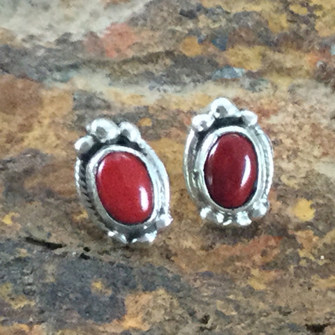 Red Coral Sterling Silver Earrings by Roie Jaque