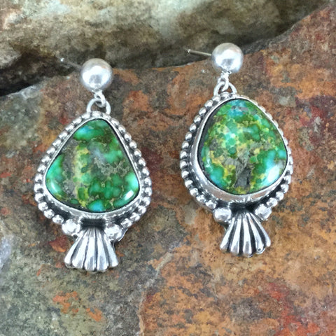 Sonoran Gold Turquoise Sterling Silver Earrings by Roie Jaque