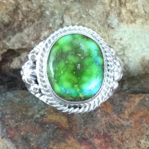 Sonoran Gold Turquoise Sterling Silver Ring by Roie Jaque Size 10.5