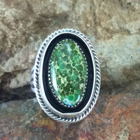 Sonoran Gold Turquoise Sterling Silver Ring by Roie Jaque Size 7