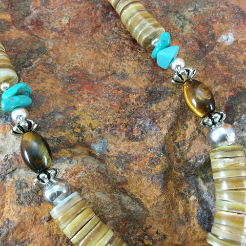 "20"" Single Strand Shell, Tiger Eye, Turquoise and Heishi Beaded Necklace"