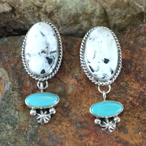 White Buffalo and Turquoise Sterling Silver Earrings by Ella Linkin