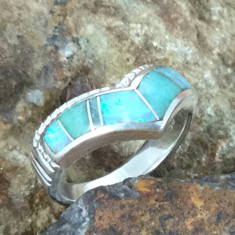 David Rosales Amazing Light Inlaid Sterling Silver Ring