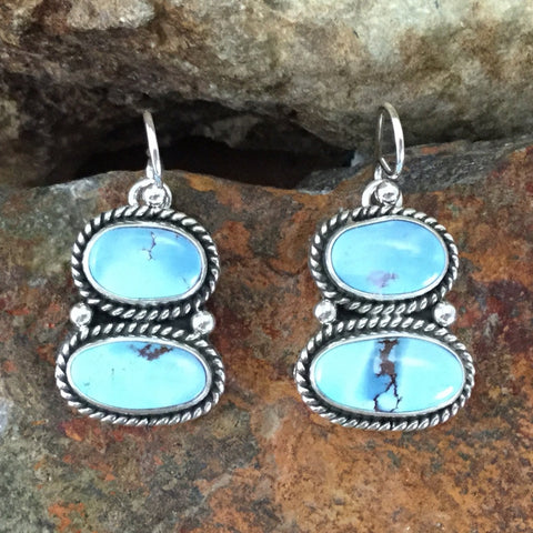 Golden Hill Turquoise Sterling Silver Earrings by Diane Wylie