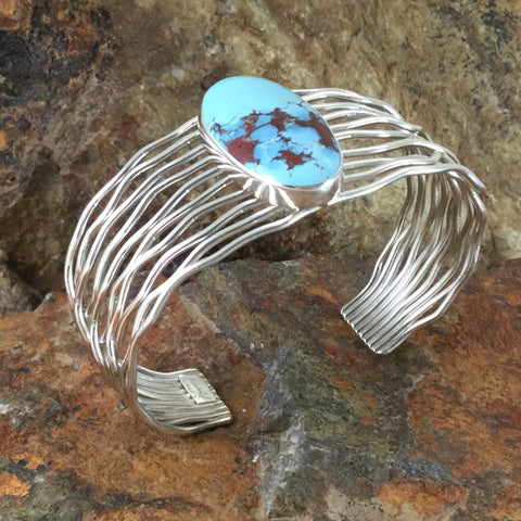 Golden Hill Turquoise Sterling Silver Bracelet by Kanan