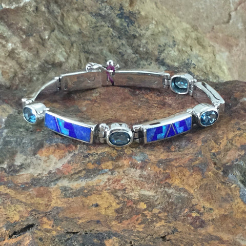 David Rosales Blue Sky Fancy Inlaid Sterling Silver Big Link Bracelet w/ Blue Topaz