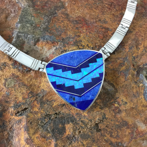 David Rosales Blue Sky Fancy Inlaid Sterling Silver Necklace